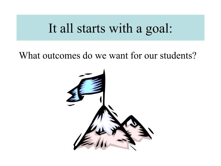 It all starts with a goal: