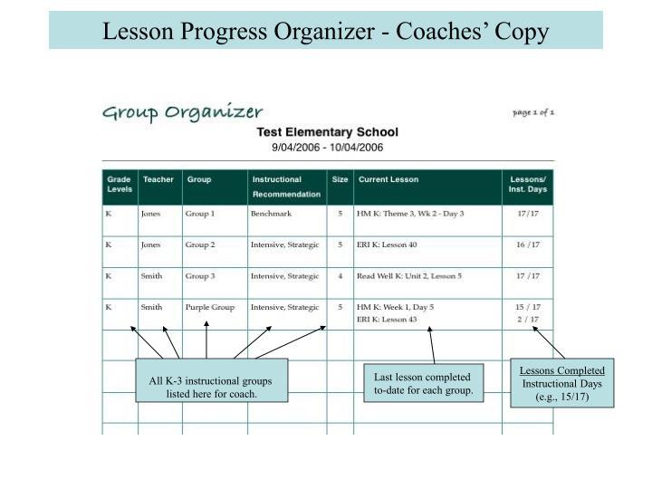 Lesson Progress Organizer - Coaches' Copy