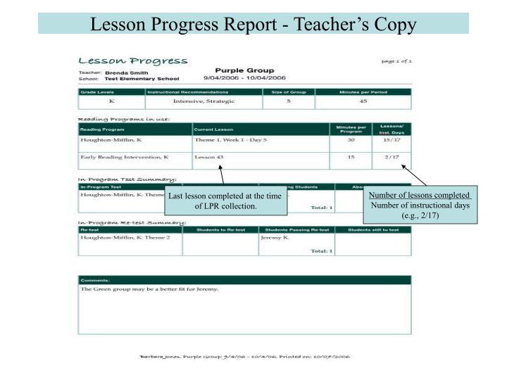 Lesson Progress Report - Teacher's Copy