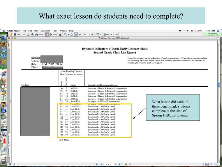 What exact lesson do students need to complete?