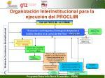 organizaci n interinstitucional para la ejecuci n del proclim