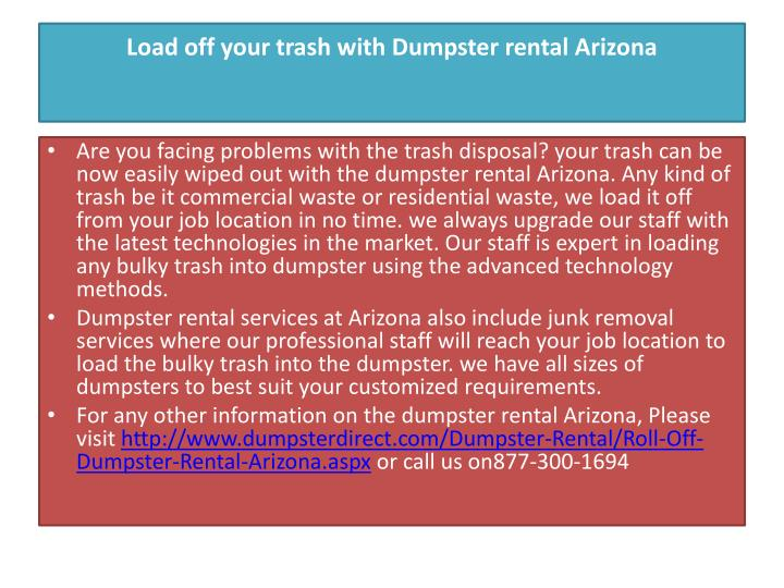 Load off your trash with dumpster rental arizona