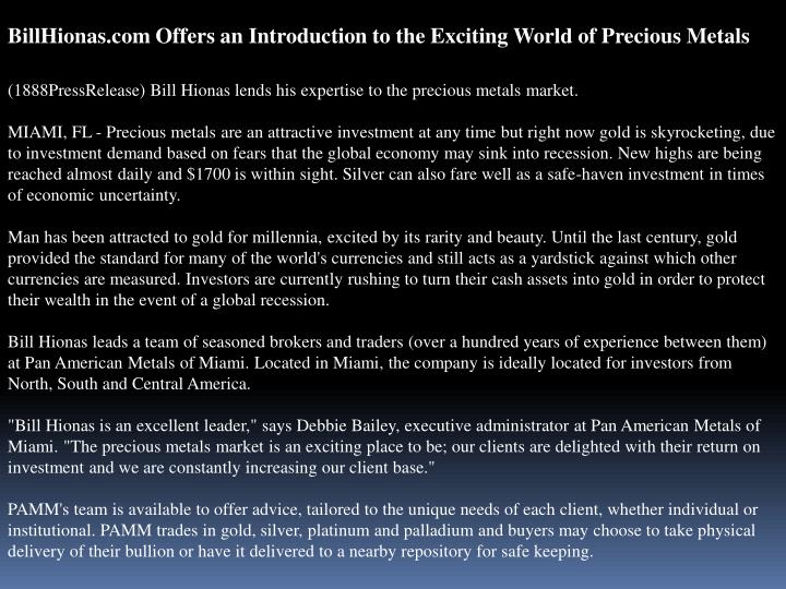 BillHionas.com Offers an Introduction to the Exciting World of Precious Metals