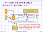 two stage pipelined smips princeton architecture