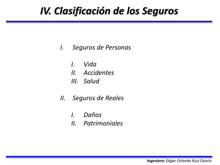 IV. Clasificación de los Seguros