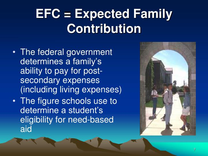 EFC = Expected Family Contribution