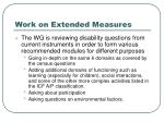 work on extended measures