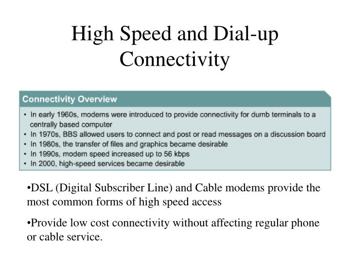 High Speed and Dial-up Connectivity