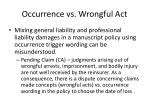occurrence vs wrongful act