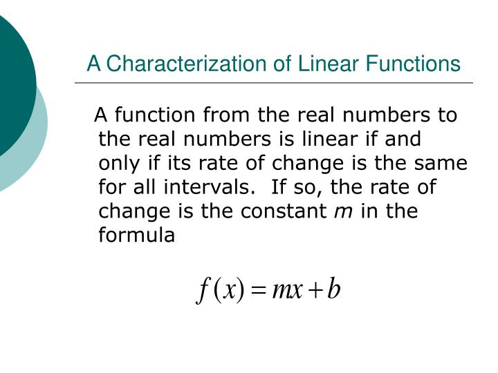 A Characterization of Linear Functions