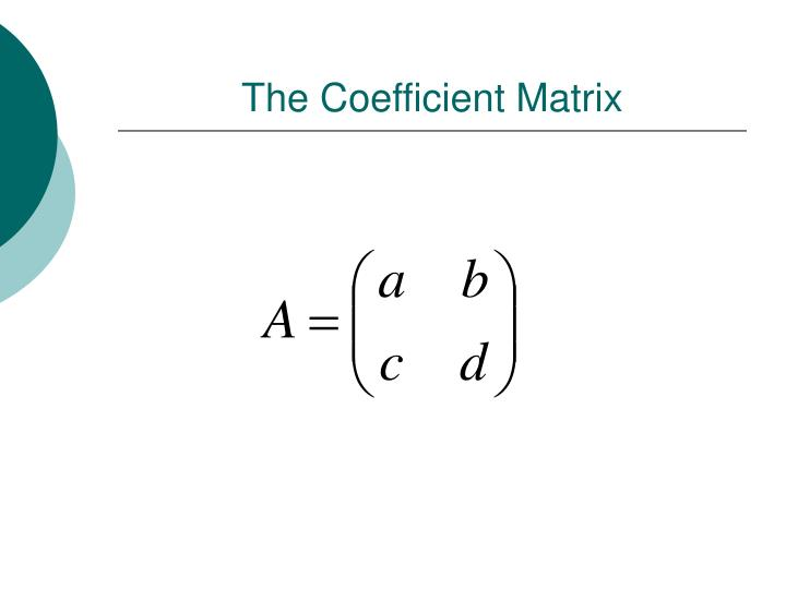 The Coefficient Matrix