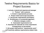 twelve requirements basics for project success