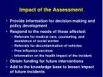 impact of the assessment