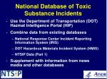 national database of toxic substance incidents