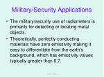 military security applications