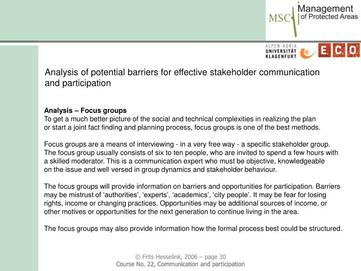 Analysis of potential barriers for effective stakeholder communication and participation