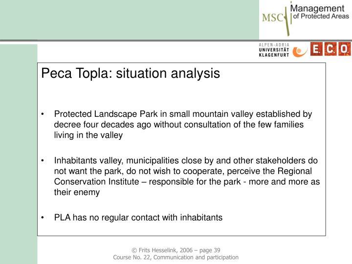 Peca Topla: situation analysis