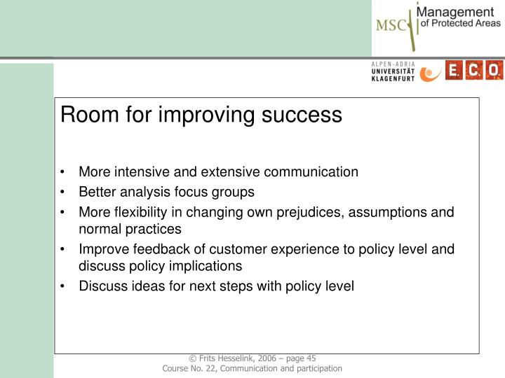 Room for improving success