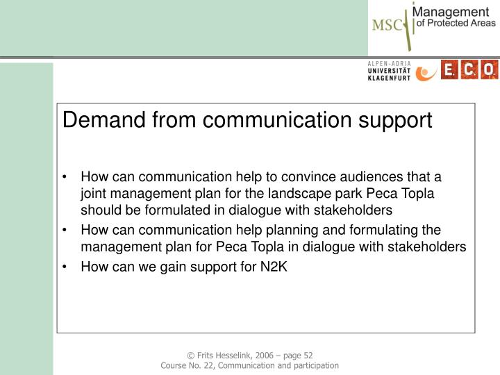 Demand from communication support