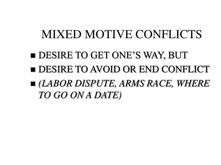 MIXED MOTIVE CONFLICTS