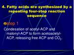 4 fatty acids are synthesized by a repeating four step reaction sequence