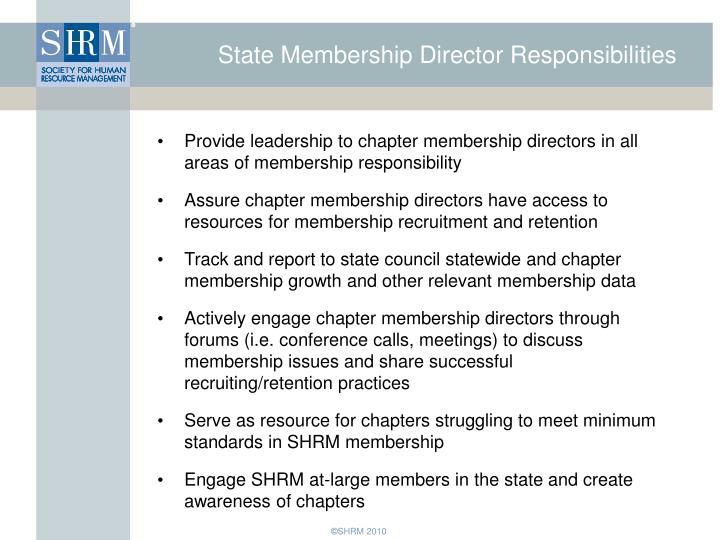 State Membership Director Responsibilities