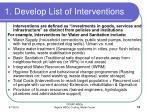 1 develop list of interventions