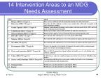 14 intervention areas to an mdg needs assessment
