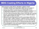 mdg costing efforts in nigeria