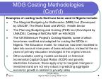 mdg costing methodologies cont d