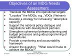 objectives of an mdg needs assessment