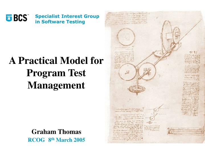 a practical model for program test management n.