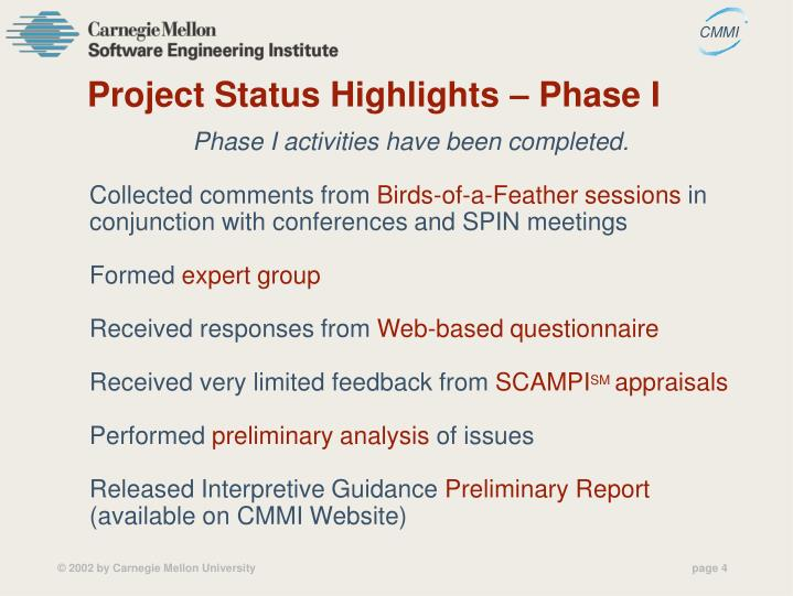 Project Status Highlights – Phase I