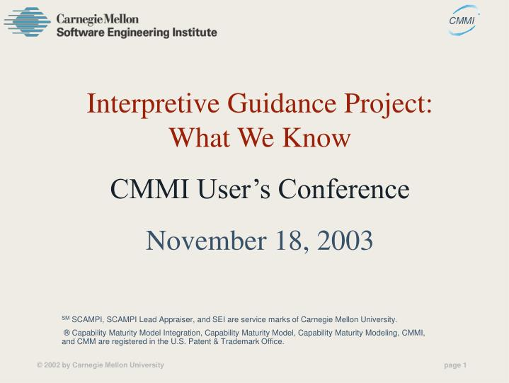 Interpretive Guidance Project: What We Know