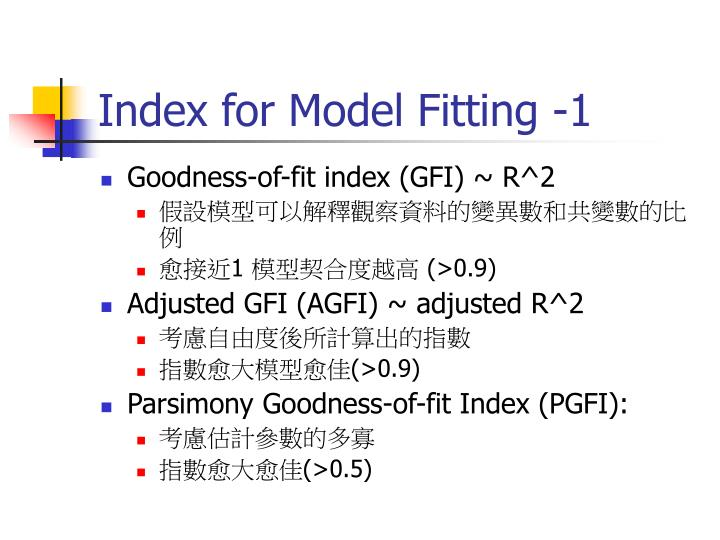 Index for Model Fitting -1