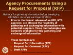 agency procurements using a request for proposal rfp