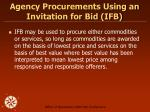 agency procurements using an invitation for bid ifb