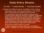 data entry sheets