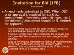 invitation for bid ifb amendments