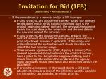 invitation for bid ifb continued amendments
