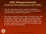 osc requirements contract encumbrance ac 340