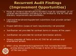 recurrent audit findings improvement opportunities continued1