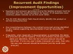 recurrent audit findings improvement opportunities continued2