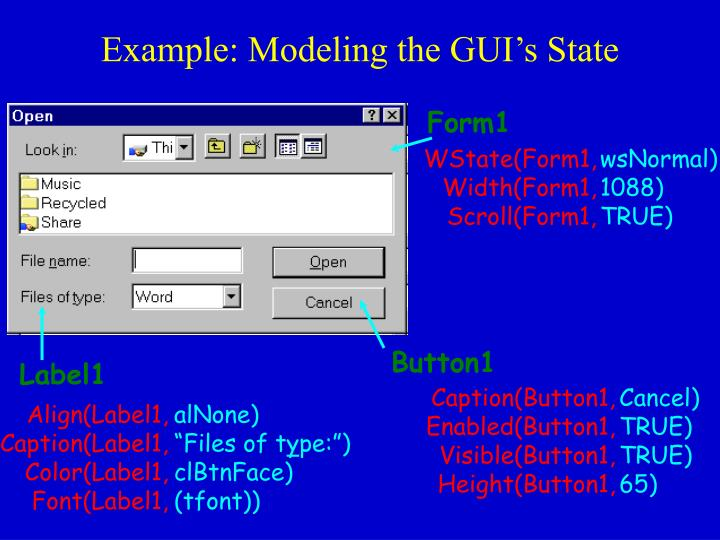 Example: Modeling the GUI's State