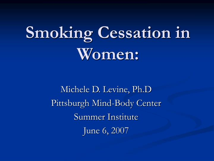 smoking cessation in women n.