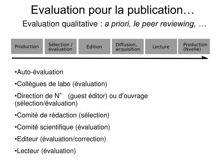 Evaluation pour la publication…