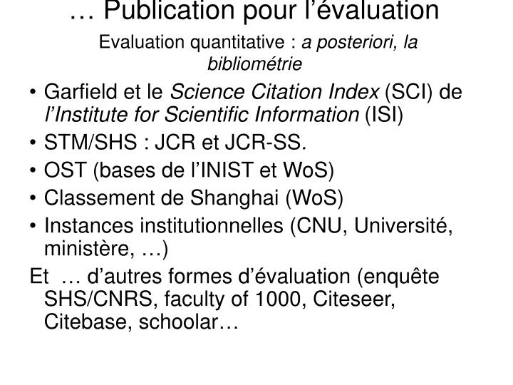 … Publication pour l'évaluation