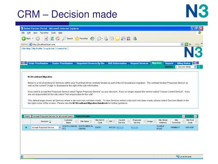 CRM – Decision made