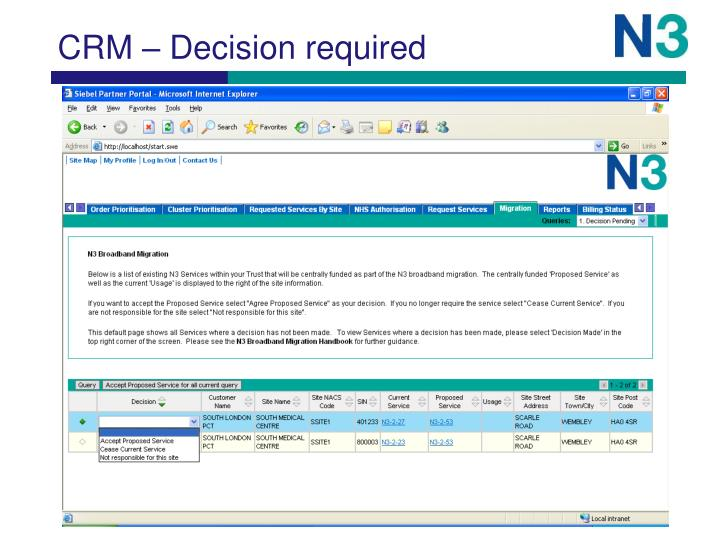 CRM – Decision required
