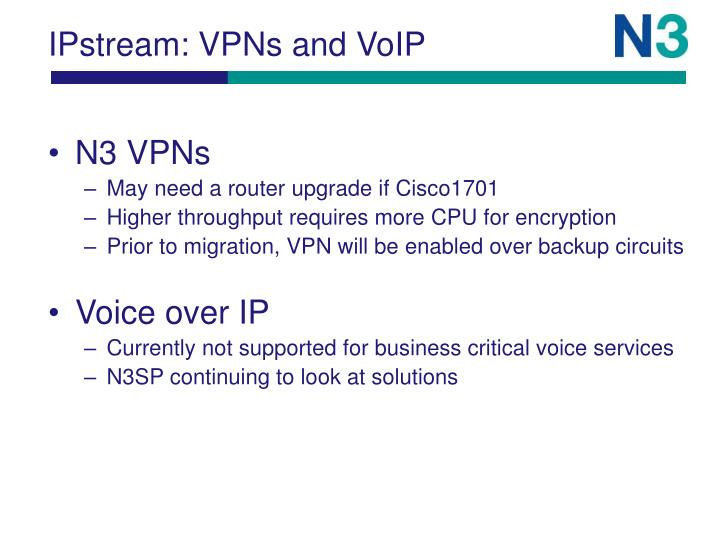 IPstream: VPNs and VoIP